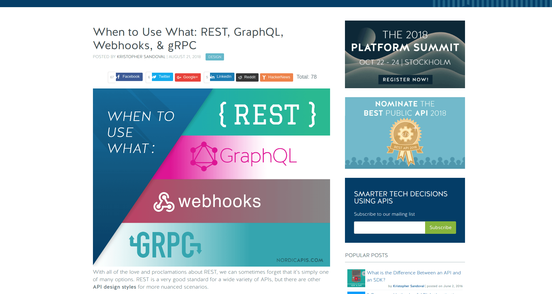 API Digest #100: When to Use What: REST, GraphQL, Webhooks, & gRPC