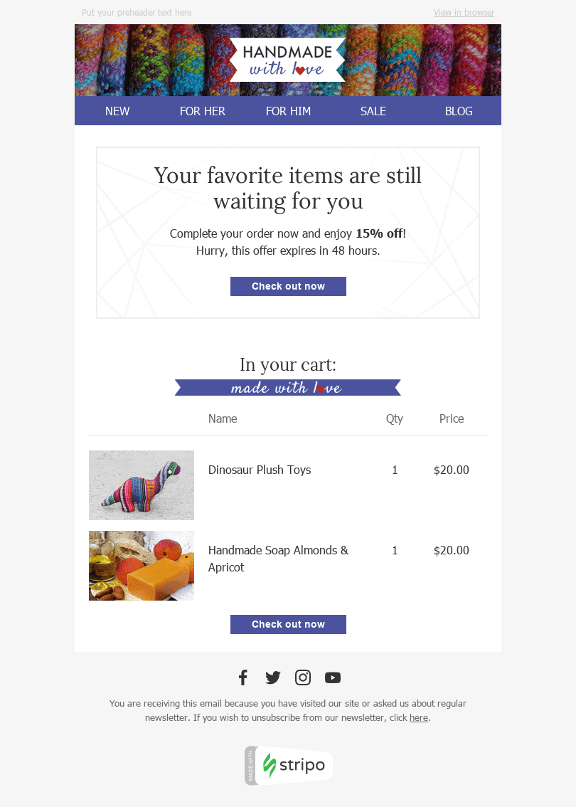 stripo abandoned cart email